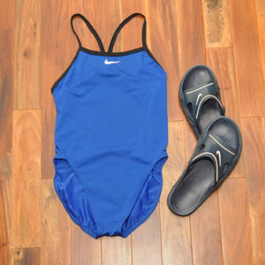 Nike Blue and Black One Piece Swimsuit Sz 10